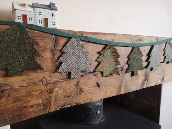 Hand made Harris Tweed Christmas trees bunting