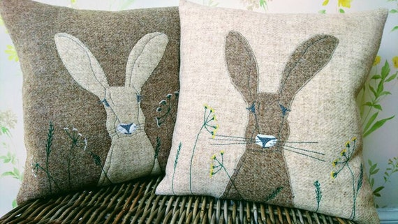 Hand crafted Harris Tweed Hare embroidered cushion cover