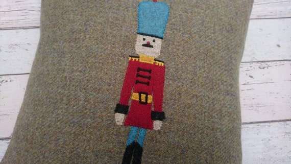 Hand Crafted Harris Tweed drummer soldier embroidered cushion cover