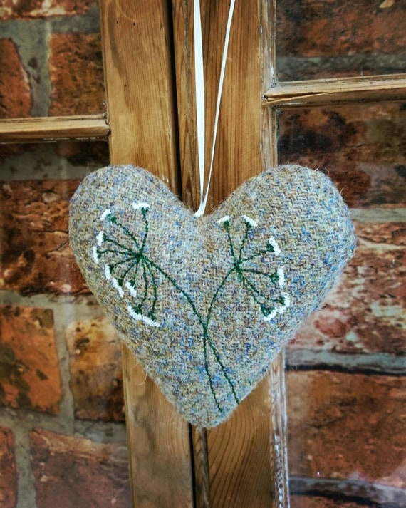 Hand crafted Harris Tweed embroidered hanging heart decoration