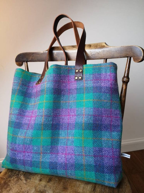 NEW Hand Crafted checked Harris Tweed tote bag with real leather handles