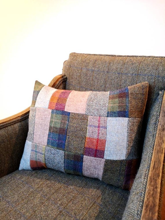 NEW Hand Crafted Harris Tweed patchwork Cushion cover with filler