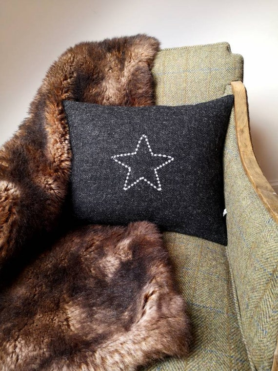 Hand Crafted Harris Tweed star embroidered cushion cover