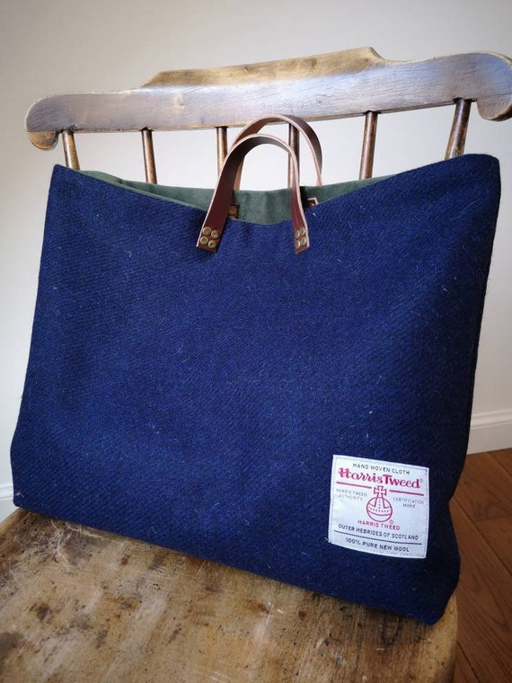 NEW Hand Crafted Harris Tweed tote bag, shopper with real leather handles in navy blue