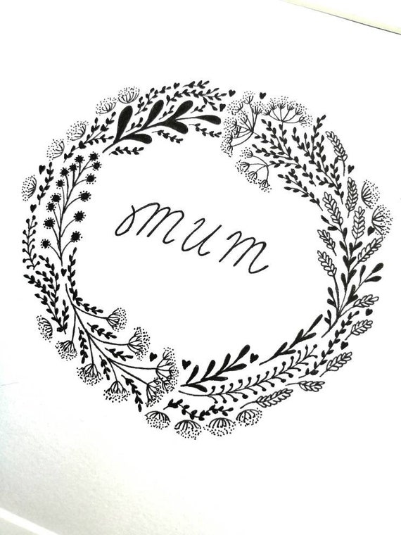 Hand drawn black and white original floral botanical mum mother picture drawing