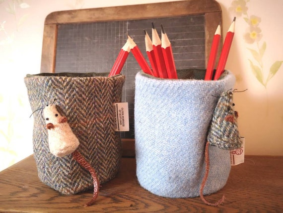 Hand Crafted Harris Tweed pencil holder office organiser