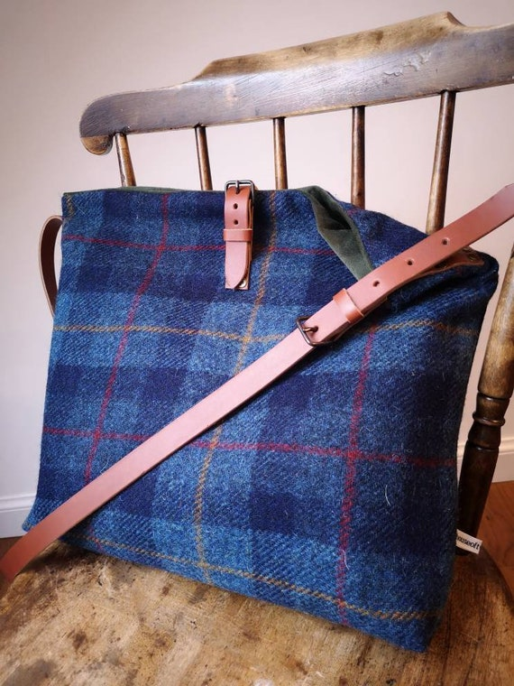 NEW Hand Crafted Harris Tweed tote bag with real leather handles