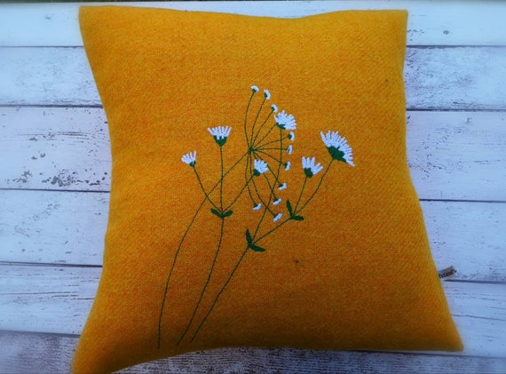 Hand Crafted Harris Tweed floral embroidered cushion
