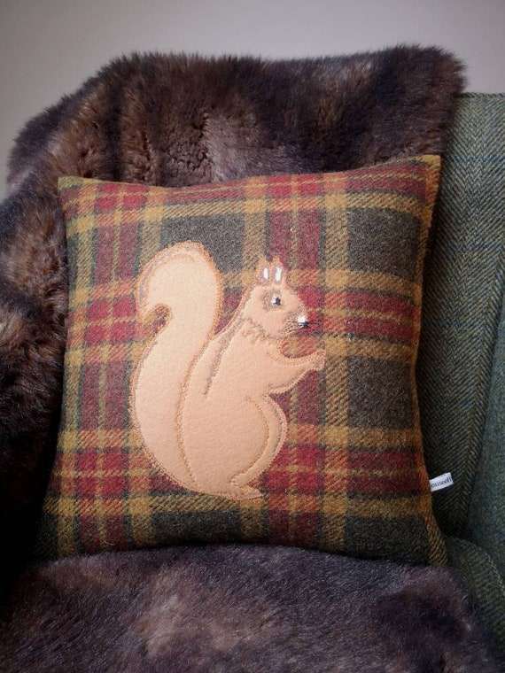 Hand Crafted Harris Tweed squirrel emb cushion cover