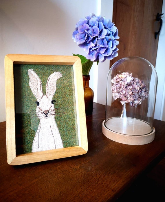NEW Hand Crafted Harris Tweed badger embroidered framed picture
