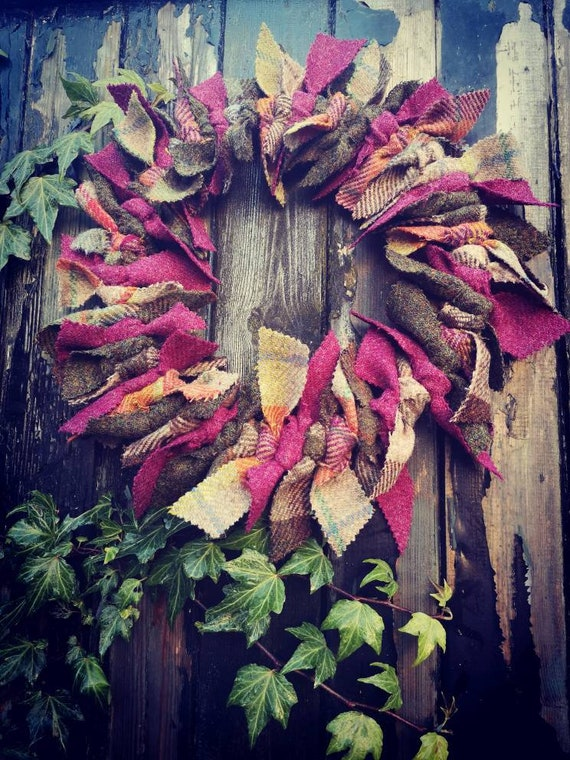 Harris Tweed wreath, Christmas wreath