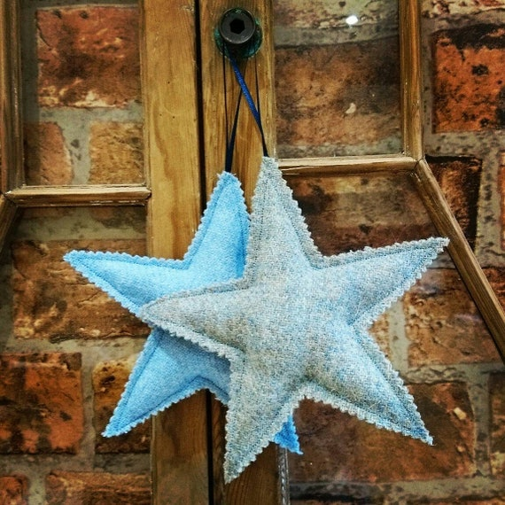 Hand crafted Harris Tweed Christmas star hanging decoration