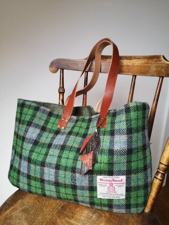 NEW Hand Crafted checked Harris Tweed tote bag with real leather straps