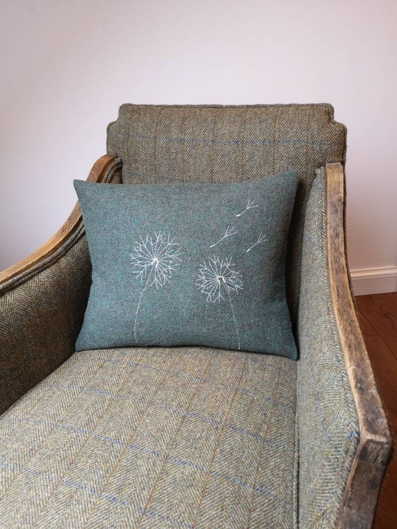 Hand Crafted Harris Tweed green embroidered cushion cover
