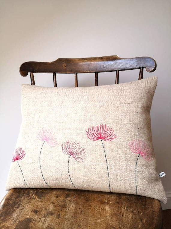 NEW Hand Crafted Harris Tweed floral embroidered cushion cover