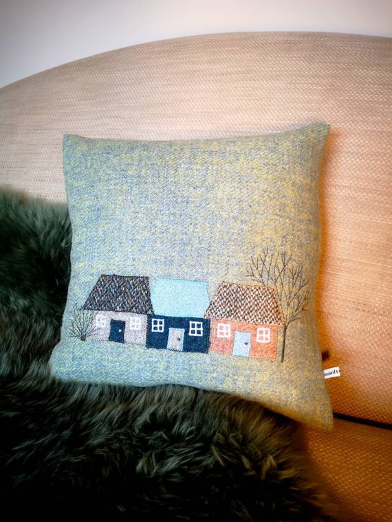 NEW Hand Crafted Harris Tweed village embroidered cushion cover