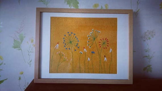 NEW Hand Crafted Harris Tweed embroidered summer meadow picture