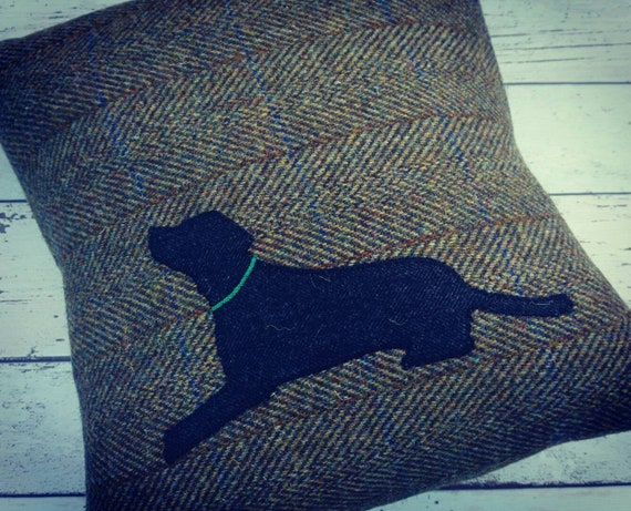 Hand Crafted Harris Tweed black lab embroidered cushion cover