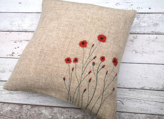Hand Crafted Harris Tweed floral embroidered cushion cover
