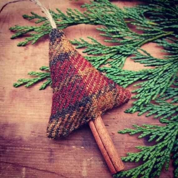 Hand crafted Harris Tweed Christmas tree hanging decoration