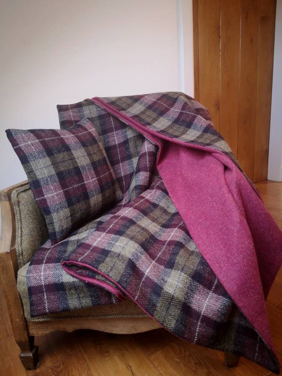 MADE TO ORDER Hand Crafted double sided Harris Tweed blanket throw bedspread