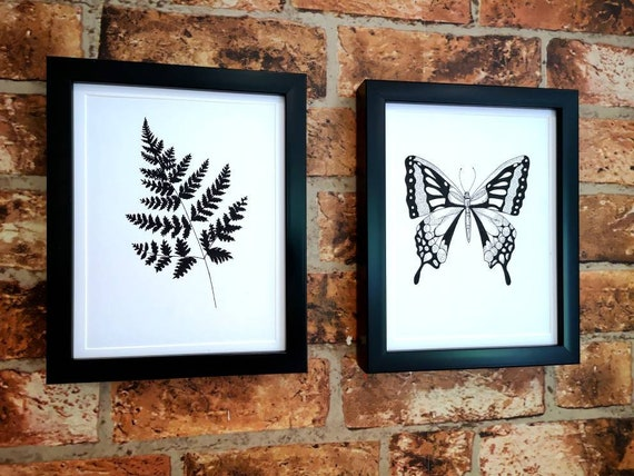 Hand drawn black and white original floral butterfly botanical picture