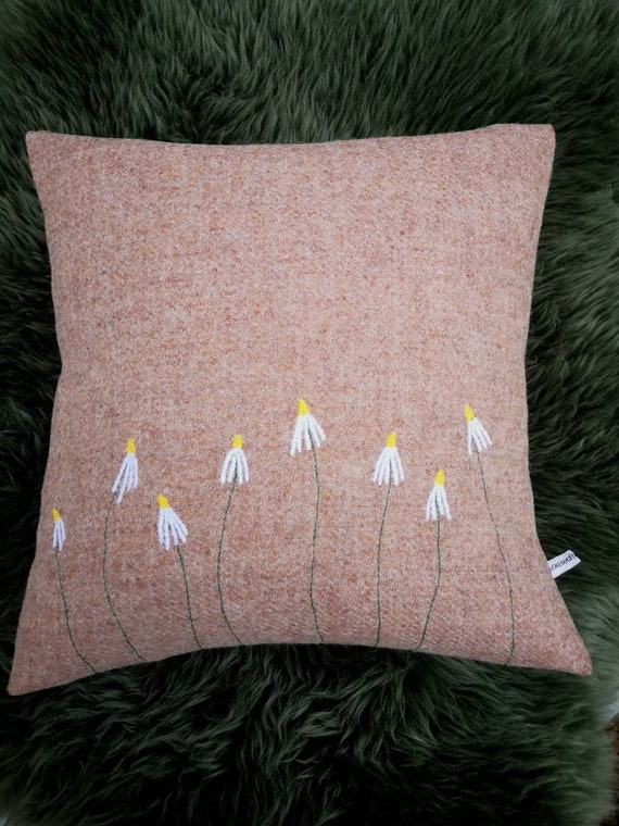 Hand Crafted Harris Tweed daisies embroidered cushion cover