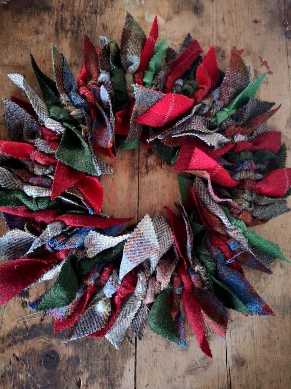 NEW Big Harris Tweed wreath, Christmas wreath