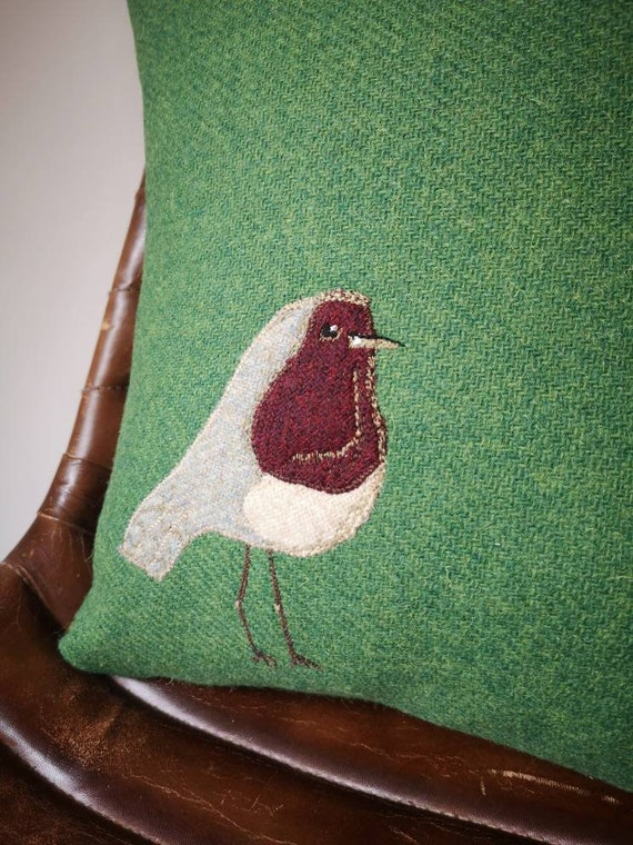 Hand Crafted Harris Tweed Robin embroidered Cushion Cover