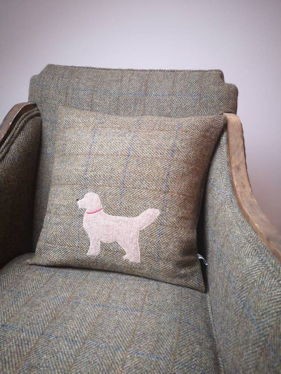 Hand Crafted Harris Tweed golder retriever embroidered cushion cover