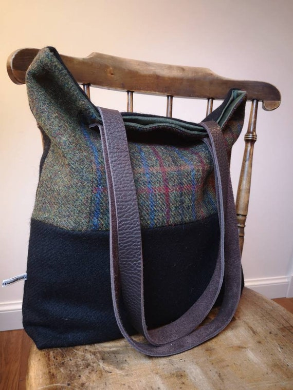 Hand Crafted black Harris Tweed tote bag with long real leather handles