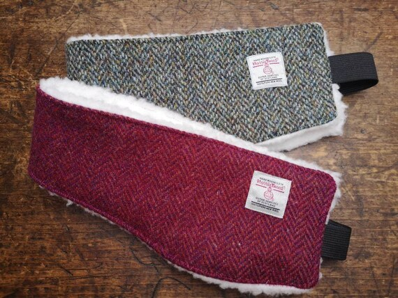 Hand Crafted Harris Tweed headband ear warmers