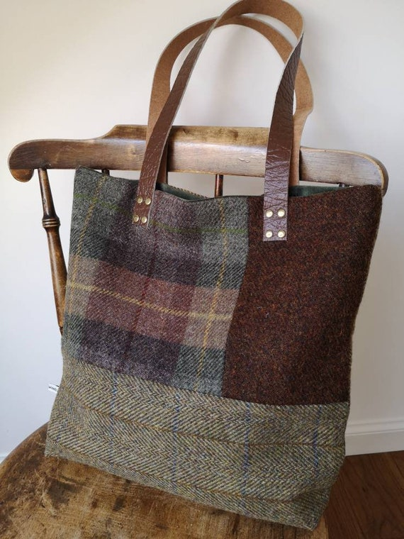 NEW Hand Crafted checked Harris Tweed tote bag with long real leather straps