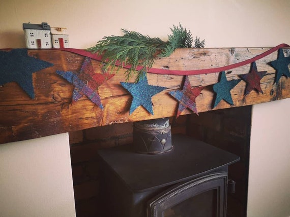 NEW Hand made Harris Tweed Christmas stars bunting