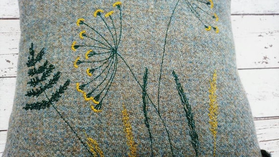 Hand Crafted Harris Tweed meadow cushion cover