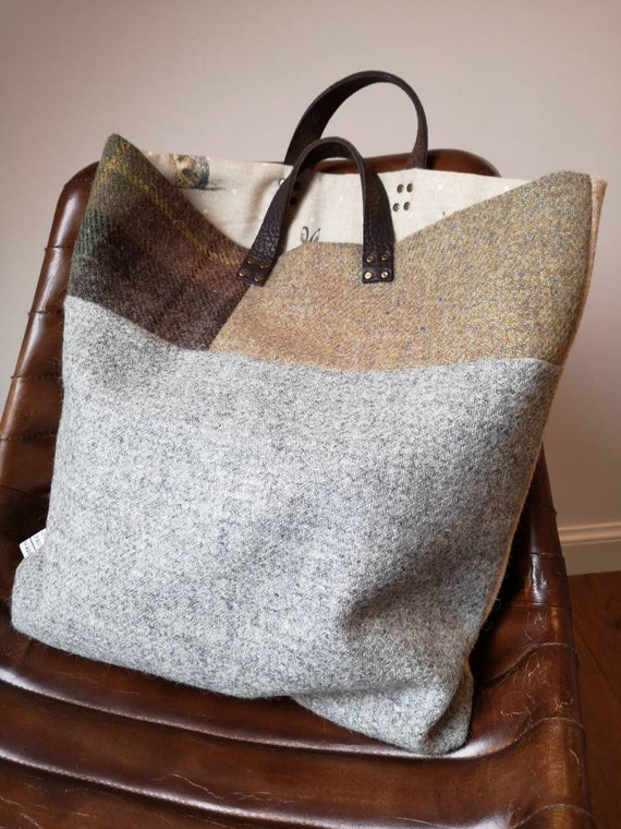 NEW Hand Crafted multicolour Harris Tweed tote bag