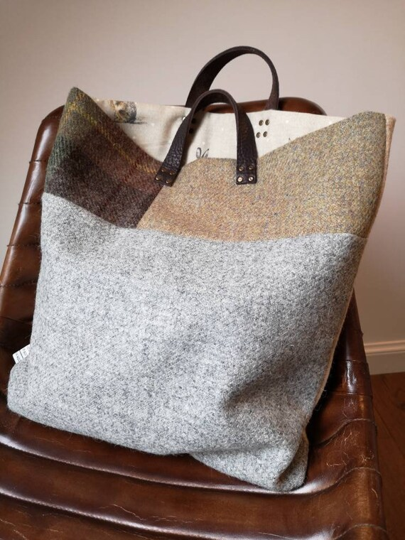 Hand Crafted multicolour Harris Tweed tote bag