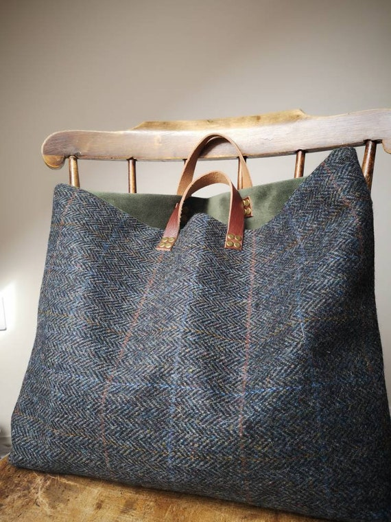 NEW Hand Crafted Harris Tweed bag with real leather straps