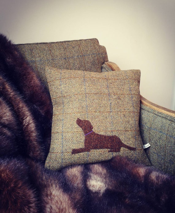 Hand Crafted Harris Tweed brown lab embroidered cushion cover