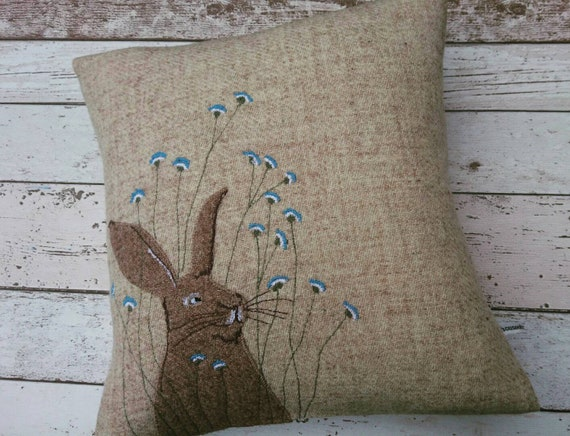 Hand crafted Harris Tweed bunny embroidered cushion cover