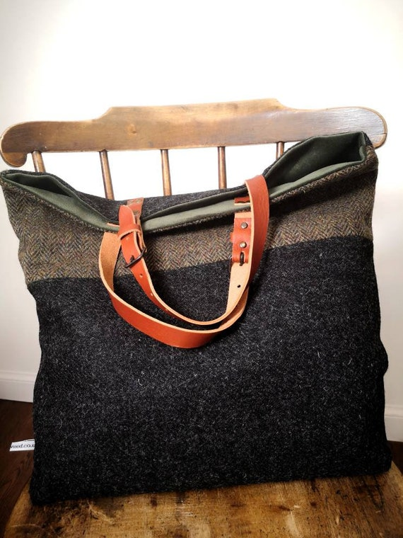 Oversized Hand Crafted Harris Tweed tote bag with real leather handles