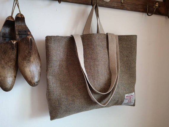 Hand Crafted beige Harris Tweed tote bag