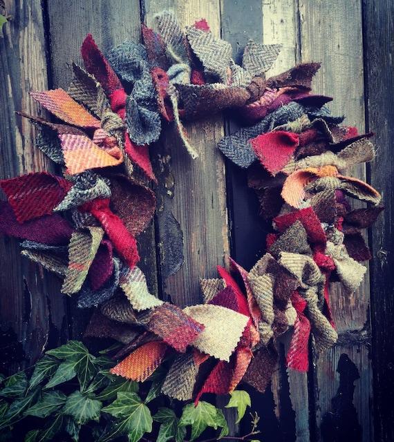 Medium Harris Tweed wreath, Christmas wreath