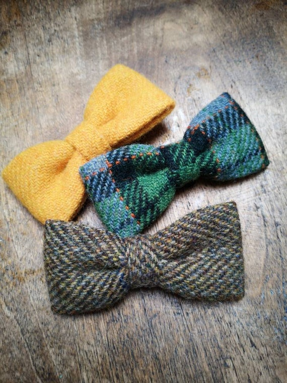 Hand made Harris Tweed dog bow tie