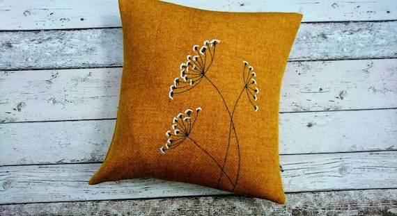 Hand Crafted Harris Tweed summer meadow embroidered cushion cover