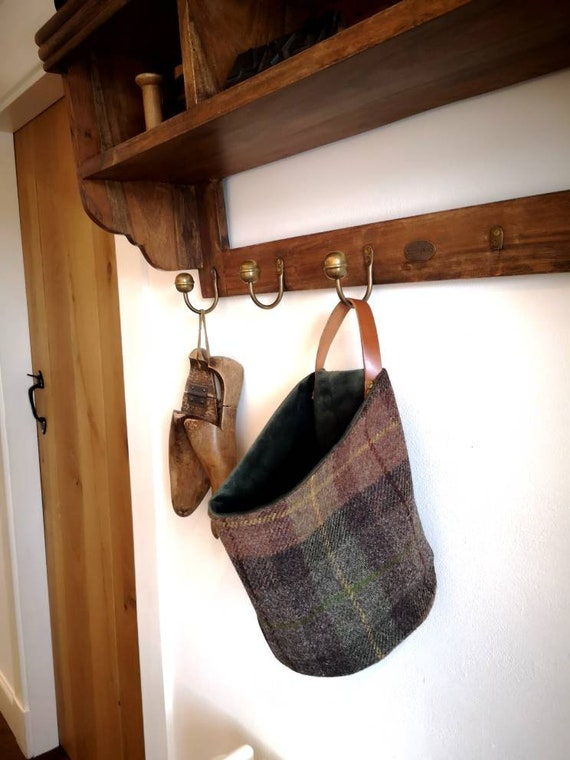 NEW Hand Crafted Harris Tweed storage solution, basket with real leather handle