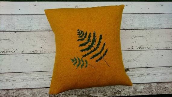 SALE Hand Crafted Harris Tweed fern embroidered cushion cover
