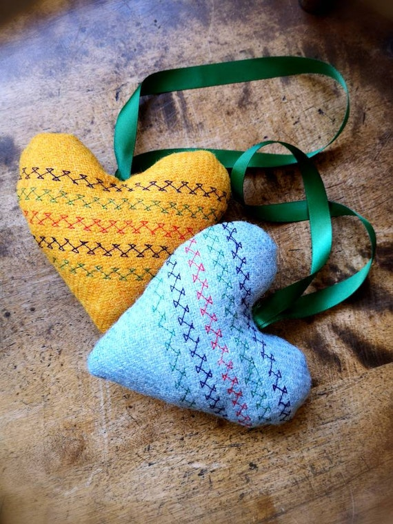 NEW Hand crafted Harris Tweed embroidered hanging heart decoration