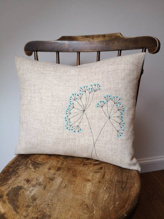NEW Hand Crafted Harris Tweed light beige floral embroidered cushion cover