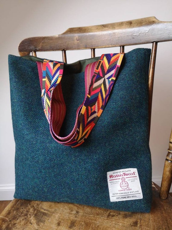 NEW Hand Crafted Harris Tweed tote bag with decorative straps